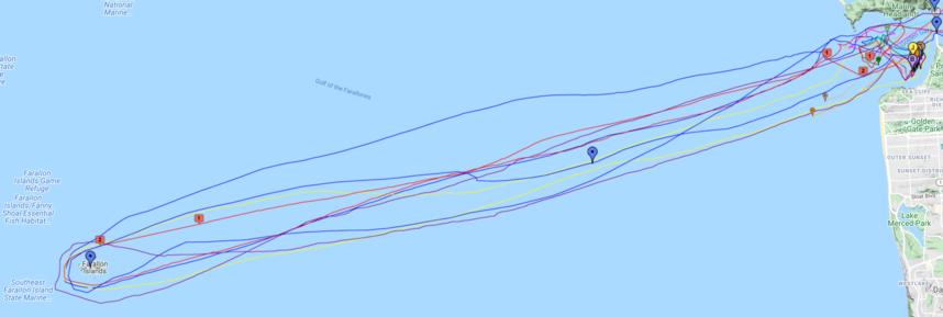 Routes of AIS enabled Boats competing in the race